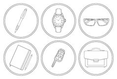Business detailed linear icons set Stock Photography