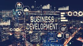 Business Development with aerial view of Manhattan, NY. Skyline stock image