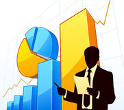 Business development. Businessman with growing financial charts Royalty Free Stock Photo
