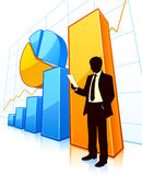 Business development. Businessman with growing financial charts Royalty Free Stock Photos