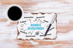 Business Development Concept. Chart with keywords and icons Royalty Free Stock Photography