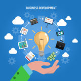 Business Development Concept. With human hand and idea symbols flat vector illustration Stock Photos