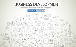 Business Development concept wih Doodle design style. Finding solution, brainstorming, creative thinking. Modern style illustration for web banners, brochure Stock Image