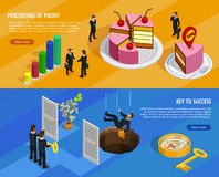 Business Development Isometric Horizontal Banners. With goal setting and analysis of result and means of achieving vector illustration Royalty Free Stock Photos