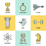 Business development skills flat icons set. Flat line icons set of success business development, planning process elements, product and service quality, strategy Stock Photo