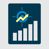 Business development strategy emblem. Investment efficiency conc. Ept. Upward chart with target symbol financial success abstract vector illustration Royalty Free Stock Images