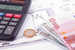 Business diagram. On financial report with money Stock Photo