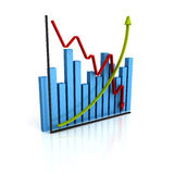 Business diagram graph with up down arrows Royalty Free Stock Photo