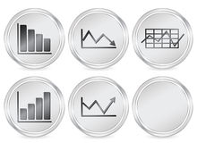 Business diagram icon. Metal business diagram circle icon set. Vector illustration Stock Images