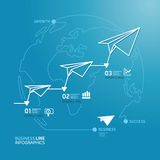 Business diagram paper airplanes line style  template . Royalty Free Stock Image