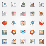 Business diagrams and charts icons. Vector set of data analysis colored symbols. Data analytic signs Royalty Free Stock Images