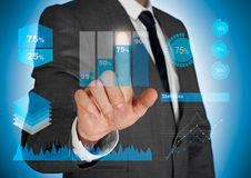 Business diagrams on screen Royalty Free Stock Photo