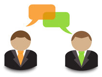 Business dialogue. Avatars businessmen in ties are in dialogue Royalty Free Stock Image
