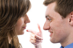 Business dialogue. Young man and woman talk. Stock Photography