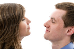 Business dialogue. Young man and woman talk. Stock Photos