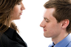 Business dialogue. Young man and woman talk. Stock Image