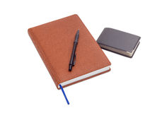 Business diary, ballpoint pen and wallet with business cards Stock Images
