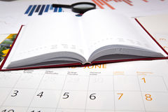 Business diary with calendar and diagram Royalty Free Stock Photos