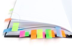 Business diary with a colored tabs Stock Photography