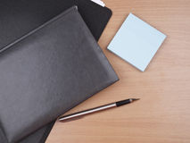Business diary, folder  and pen Stock Photos