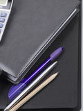 Business diary, folder and pen Stock Image