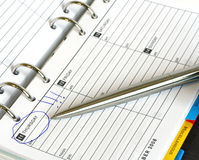 Business diary and pen thursday. Business Diary and Pen Organiser Royalty Free Stock Photos