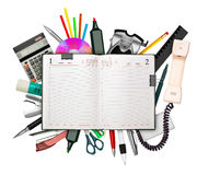 Business diary and stationery Royalty Free Stock Photography
