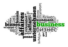 Business in different languages Stock Images