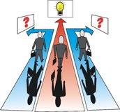 Business direction cartoon. Cartoon of businessmen faced with choice of routes to ideas or indecision Stock Images