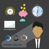 Business direction infographic with icons, persons and money, flat design. Digital vector image Stock Photography
