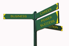 Business Directions. SignPost: business, career, power, success, solution Royalty Free Stock Photo