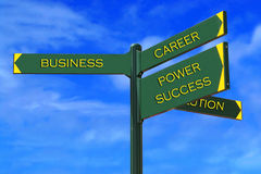Business Directions. SignPost: business, career, power, success, solution Royalty Free Stock Photography