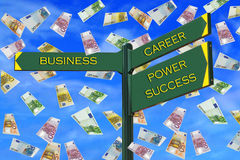Business Directions. SignPost: business, career, power, success, solution and euro rain Royalty Free Stock Photos