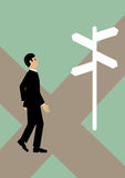 Business Directions. A businessman at a cross roads, not sure which path to take. A metaphor on financial decisions Stock Photography