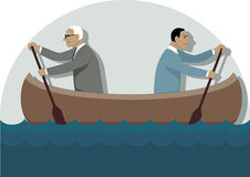Business disagreement. Two businessmen, one young and one older, rowing in the different directions in a canoe,  illustration Stock Photos