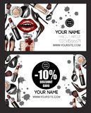 Business and discount card for makeup artist with crop top, lips, shoes. Makeup patches vector illustration. Business and discount card for makeup artist with royalty free illustration