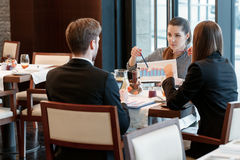 Business discussion at the lunch between Stock Photo