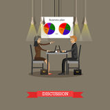 Business discussion in office with financial pie charts on a wall. Concept vector illustration Stock Photography