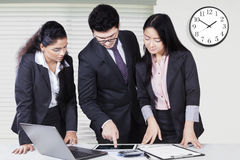Business discussion in office with tablet Royalty Free Stock Images