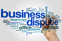 Business dispute word cloud concept on grey background Royalty Free Stock Photos