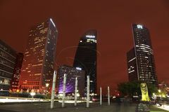 Business district. Paris, France - October 8th, 2011:Night image of skyscrapers in the famous business district, La Defense,in the western part of Paris Stock Images