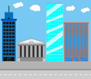 Business district. Architecture urban, bank and city, town structure, building house, residential skyscraper office, vector art design abstract unusual fashion Stock Photo