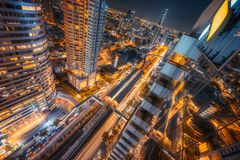 Business District of Bangkok, Sathorn. Thailand. Business District of Bangkok, Sathorn at night. Thailand Stock Images