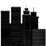 Business district black white. Financial district, office building, building, cityscape with skyscraper street. Vector illustration Royalty Free Stock Photos
