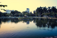 Business district cityscape from a Lumpini Park, Bangkok, Thaila Royalty Free Stock Photography