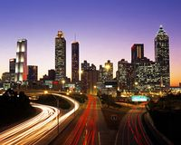 Business district at dusk, Atlanta. Royalty Free Stock Photos