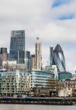 Business district with famous skyscrapers and landmarks at golde. N hour, London, UK Stock Photo