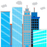 Business district with glass skyscrapers. Financial district and office building, cityscape skyscraper street. Vector illustration Royalty Free Stock Image