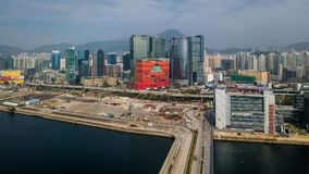 Business District of Hong Kong. From drone view Royalty Free Stock Photos