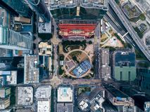 Business District of Hong Kong. From drone view Stock Photos